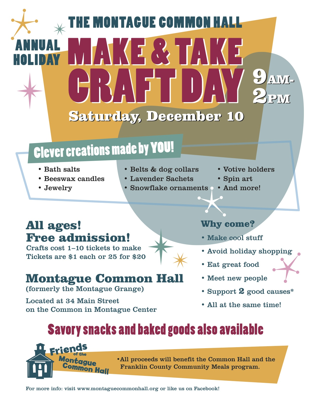 This saturday december 10 2016 montague common hall for Make it take it crafts